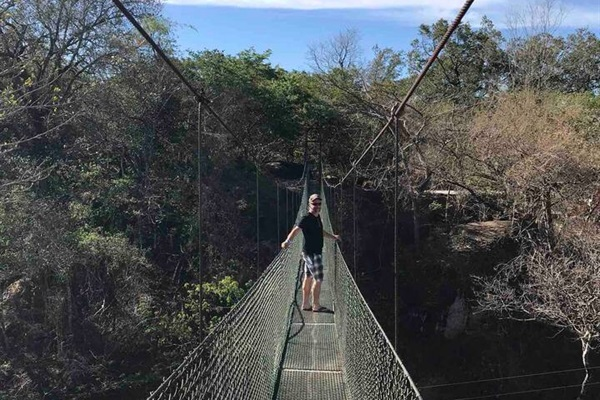 A long hanging bridge, a little scary but doable and safe