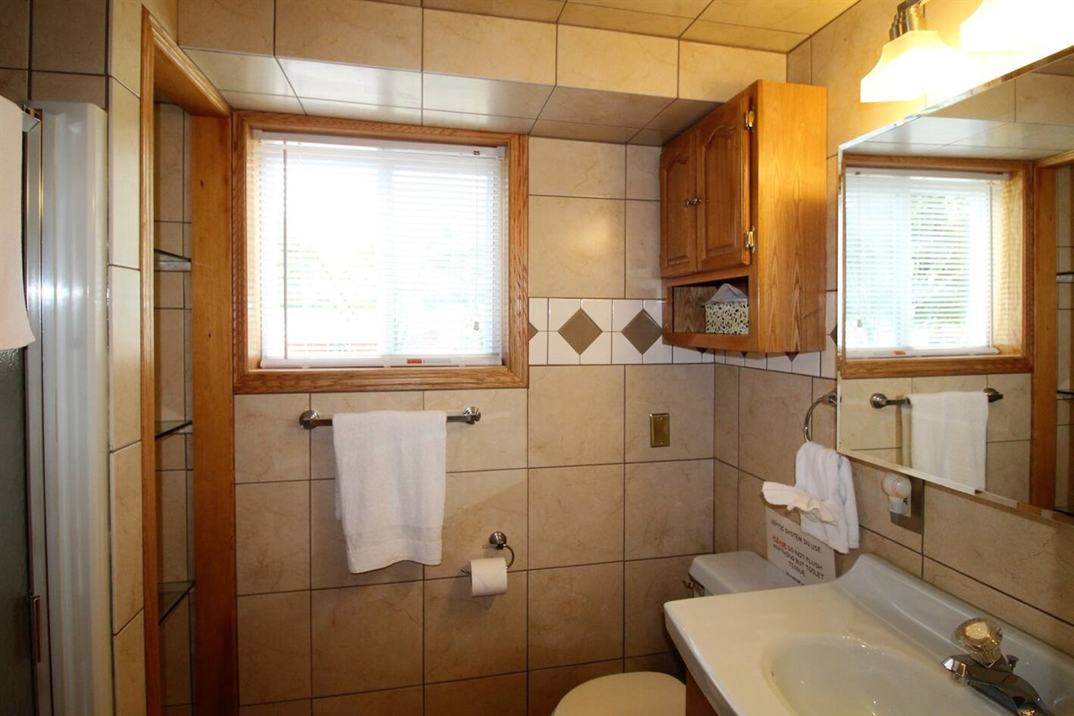 Full bathroom #2, with stall shower, downstairs off the main living area