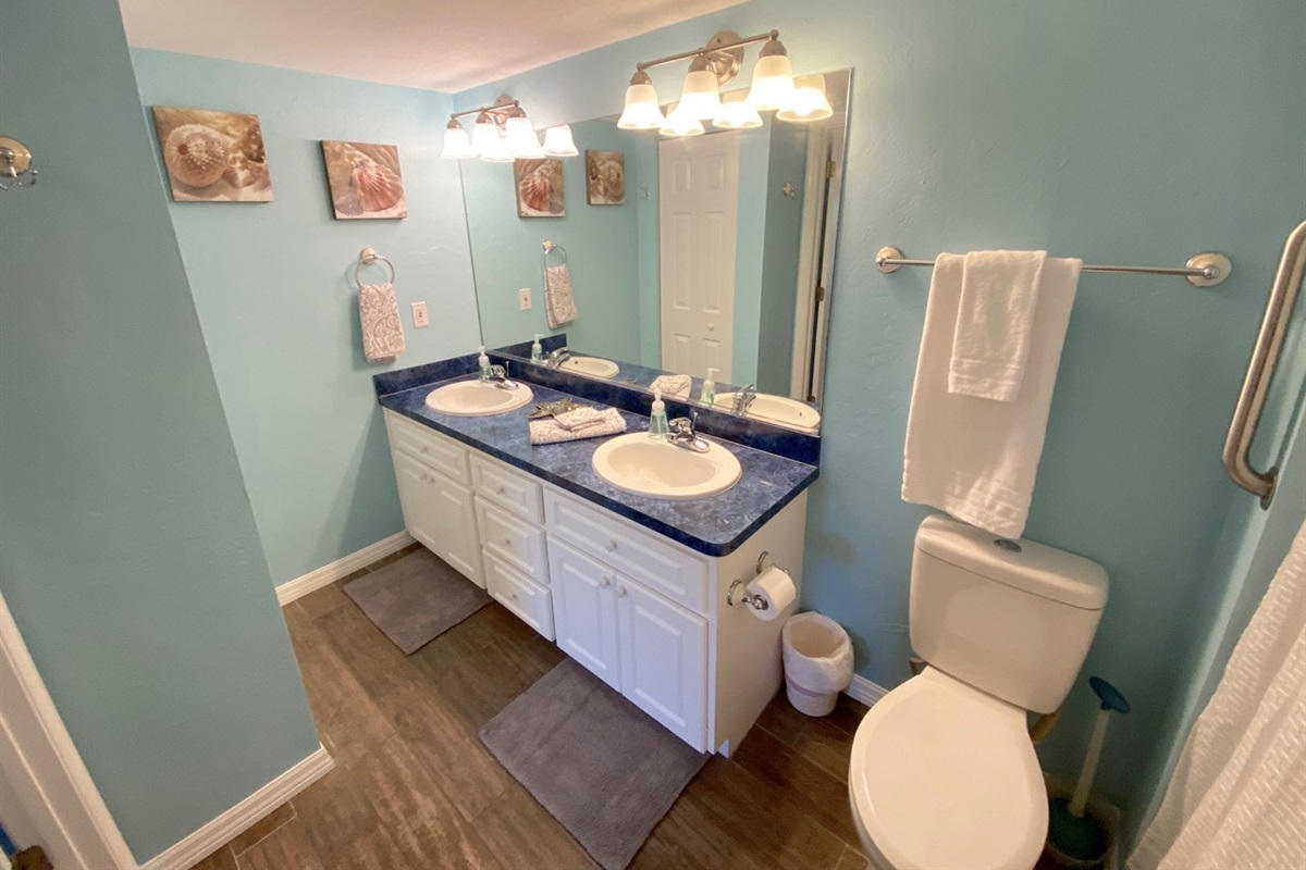 Master bath features double sinks