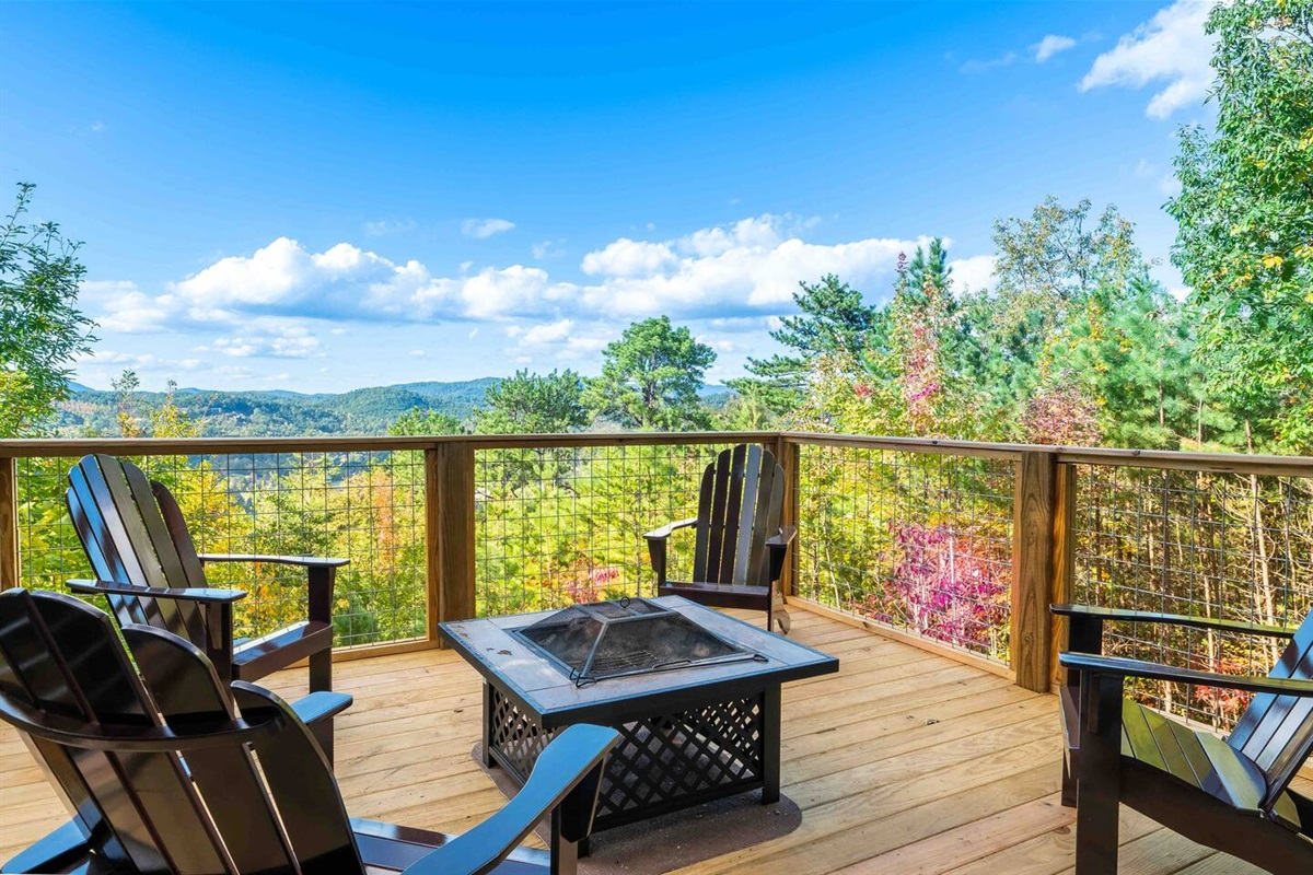 Fire pit with views on the lower decks