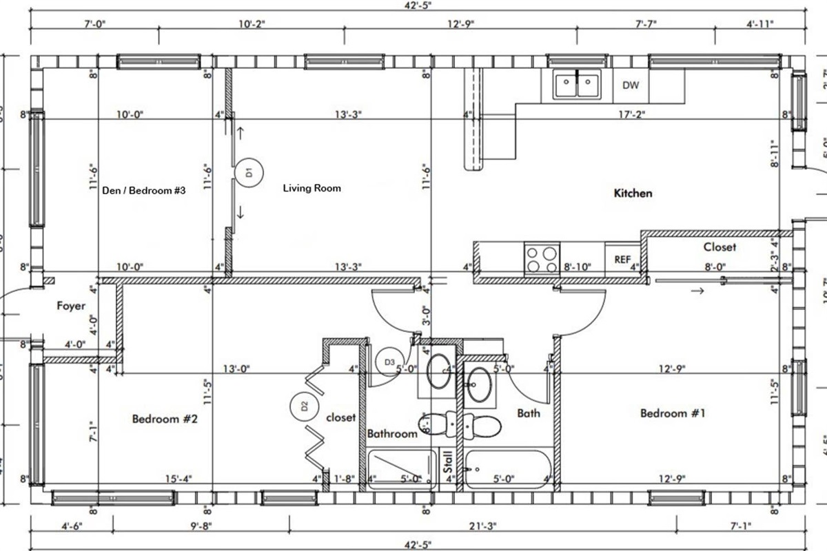 Floor plan of our downtown cottage.  Entry on the left-hand side from the driveway. The back kitchen doorway on the right-hand side leads to the private patio and laundry shed.