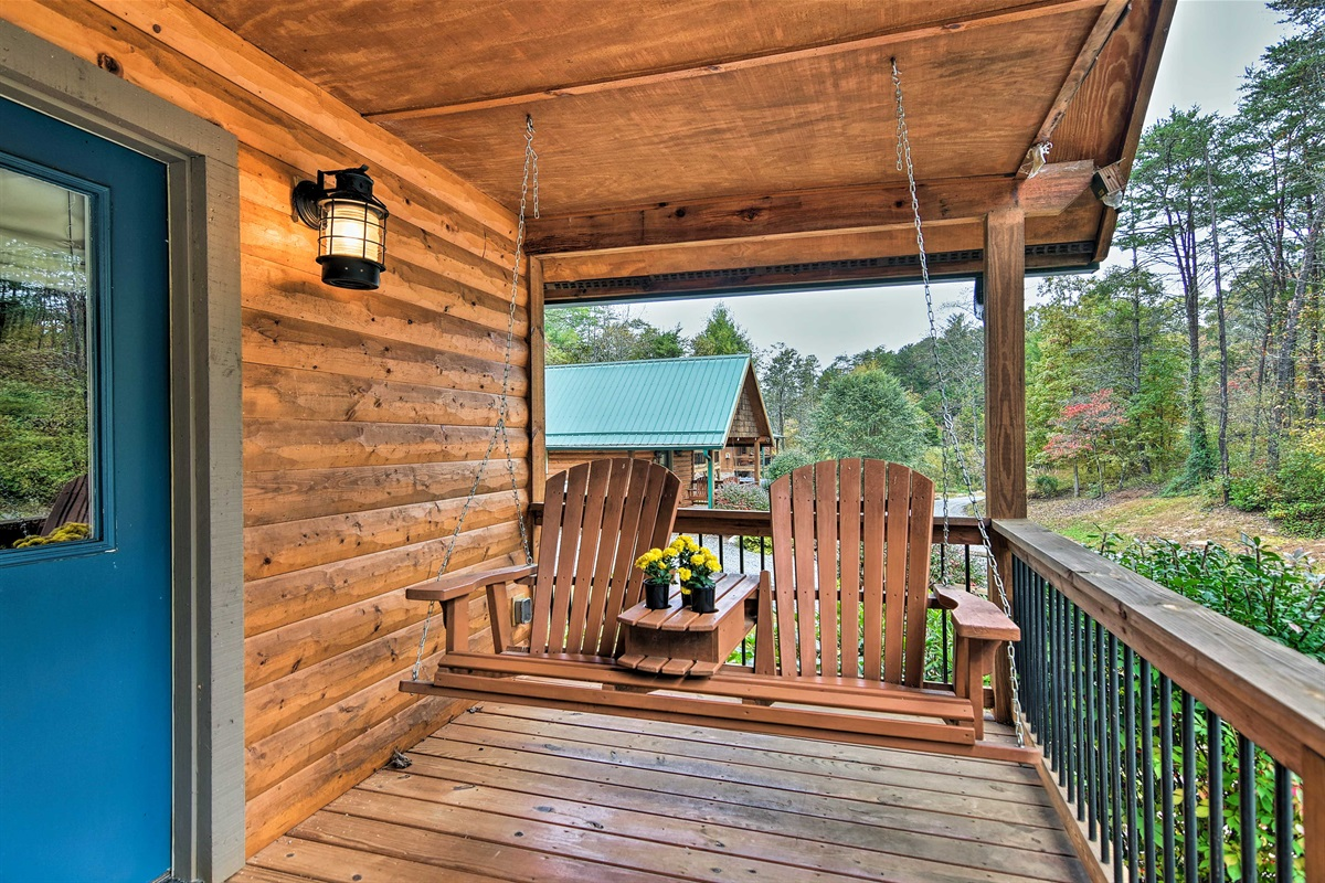 The porch swing is the perfect spot for morning coffee & evening wine.