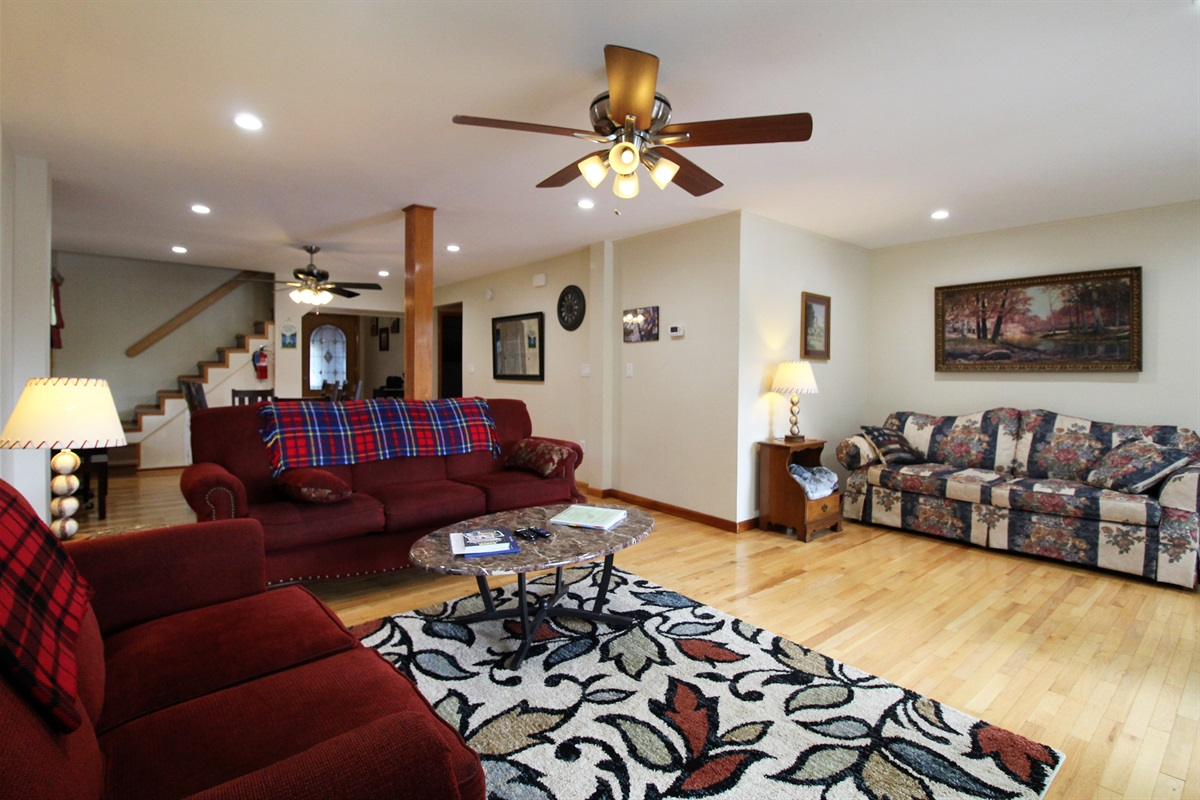 Open floor plan living and dining area
