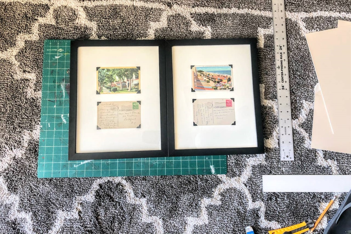 Danielle here is making our signature wall art, featuring vintage postcards from Hollywood Florida, dating back from the 1930s -1960s.