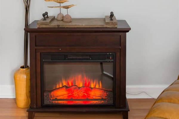 LED simulated fireplace for extra heat