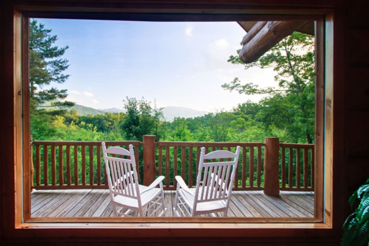 Enjoy the views from inside the cabin, out on the decks, or in the yard