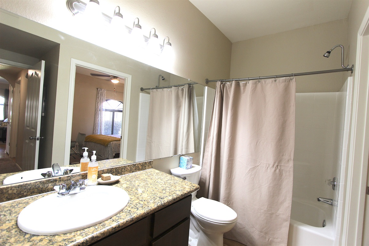Guest bathroom-entrance from hall or bedroom.