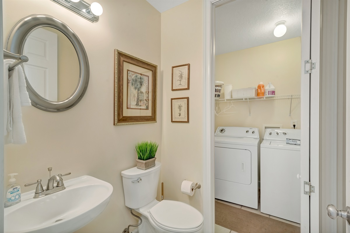 Half Bath & Laundry Room with Full Size Washer & Dryer