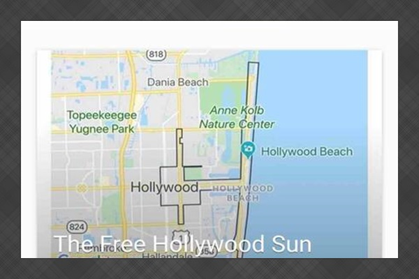 Screenshot of our guidebook where we introduce the new Hollywood Sun Shuttle. The Palms at Young Circle is in their free pickup area and will take guests to the beach from our driveway. Download their app to request your pickup via mobile phone.