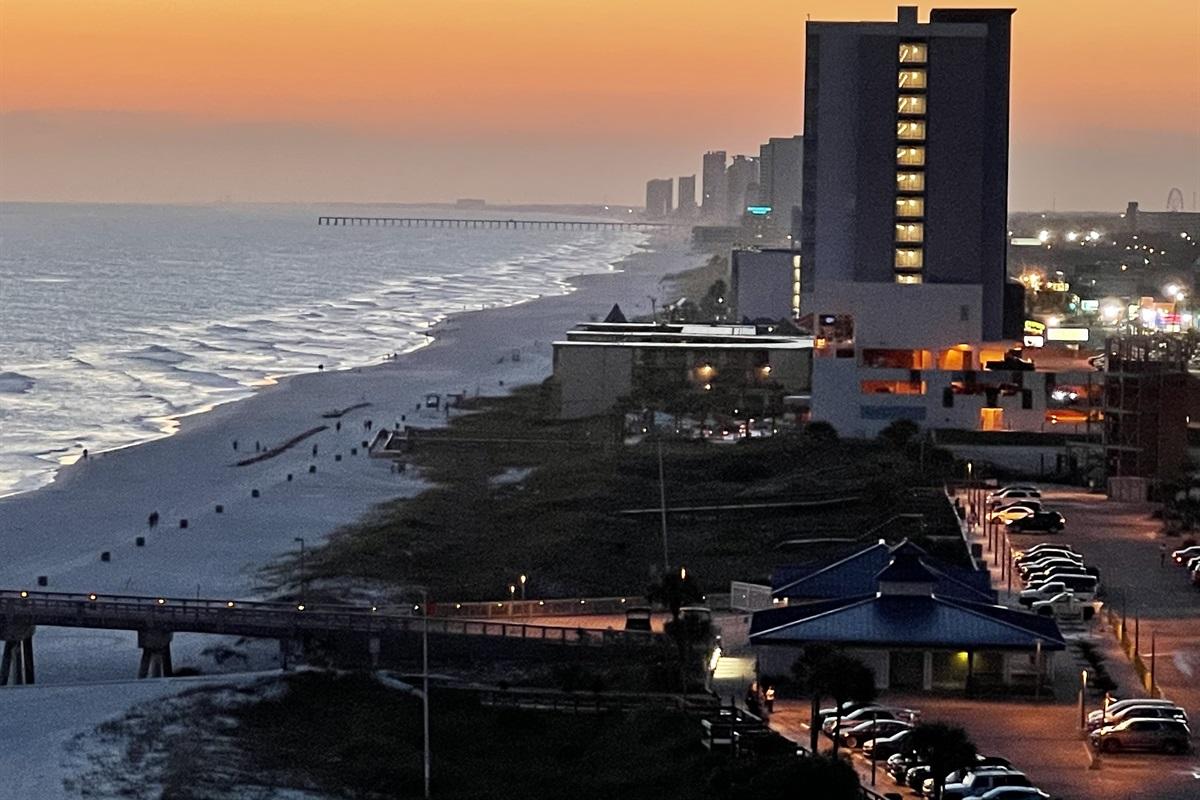 Dusk view of coastline