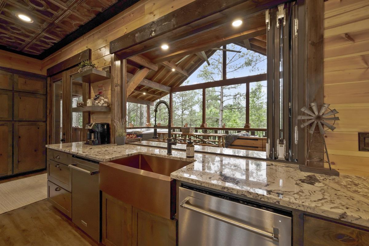 View to Upper Deck Through Kitchen Pass through
