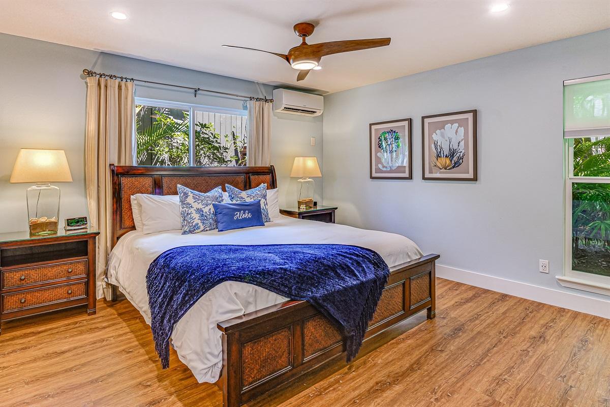 "Bdr #1 King bed-Luxury Posturepedic, 40"" HD TV, quiet AC, ceiling fan, bathroom"