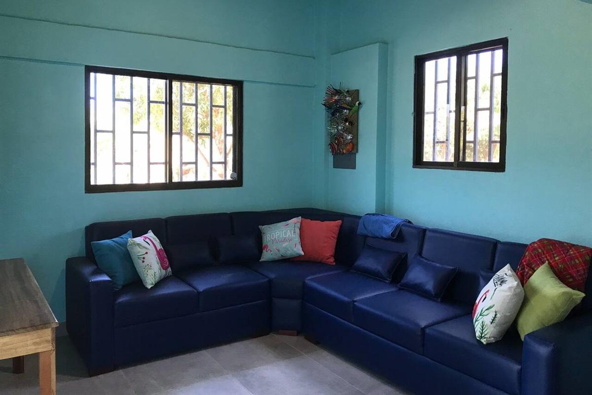 Spacious living room with nice sectional sofa