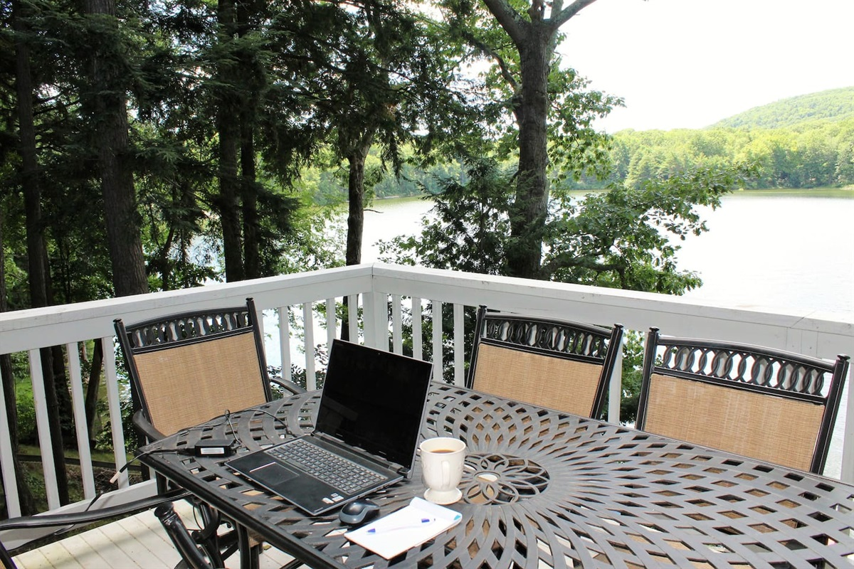 Work from anywhere.  Here is the perfect corner office - with a fantastic view.  There is even an outlet on the deck to keep your devices powered all day long!