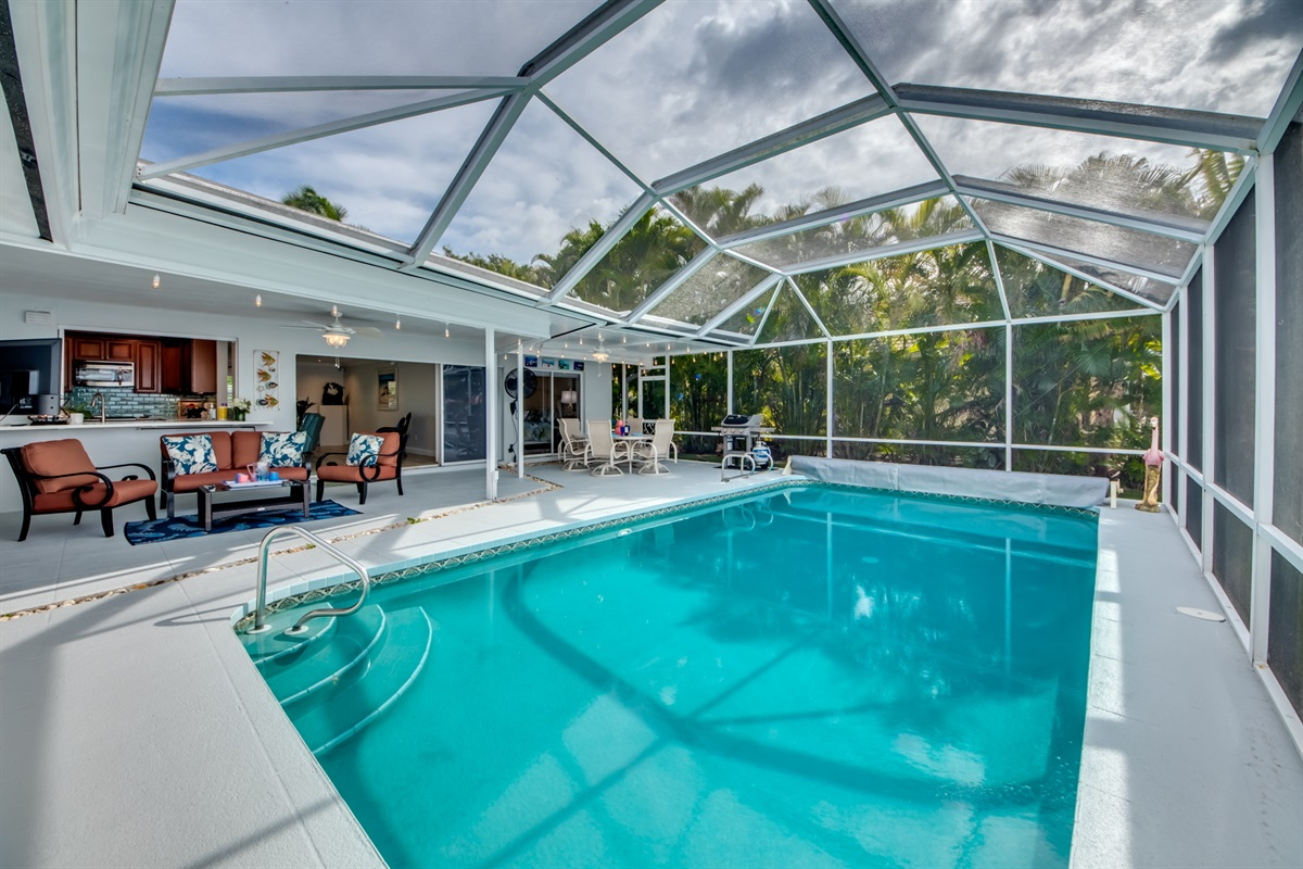 Pool heated with electric and solar