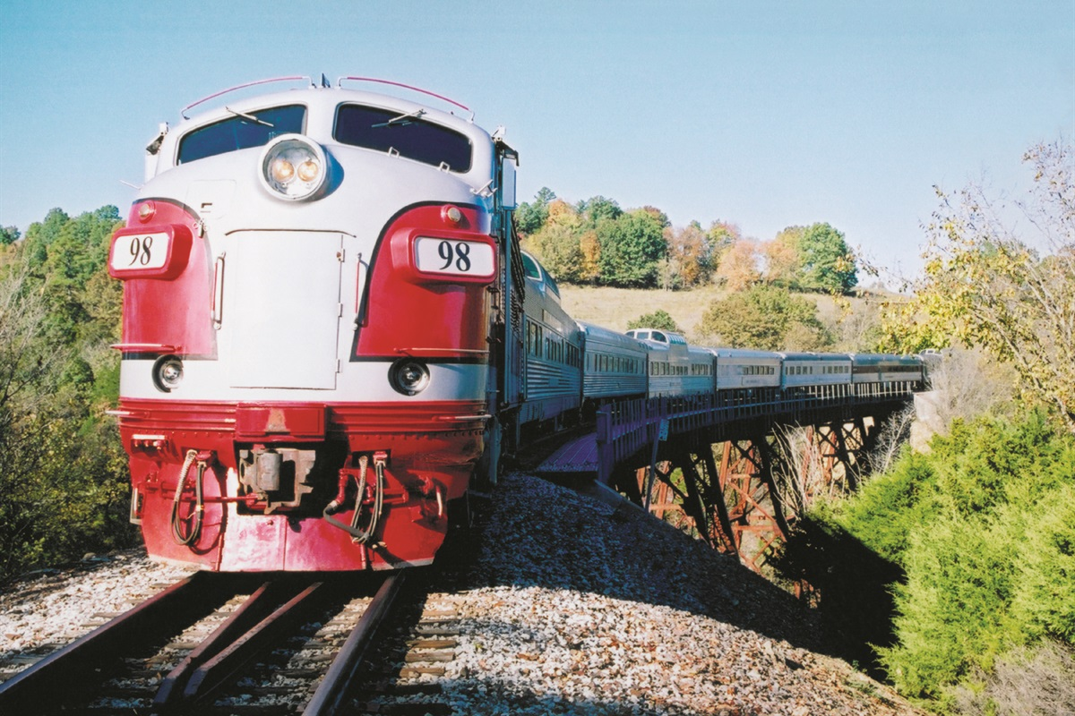 Ride a historic train through the Ozarks on the Branson Scenic Railway! (BCVB)