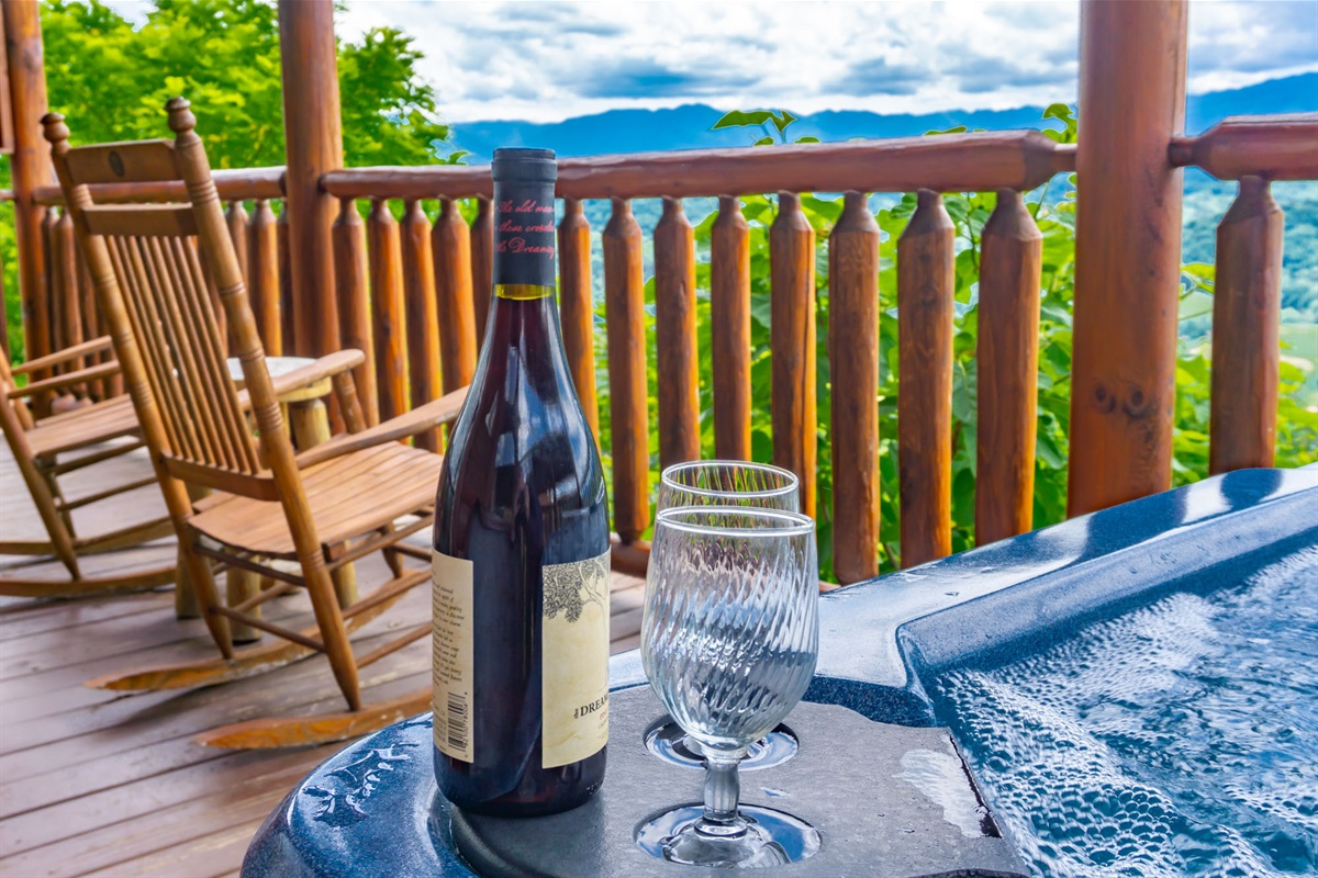 The hot tub is a great way to unwind after a day in Pigeon Forge or Gatlinburg