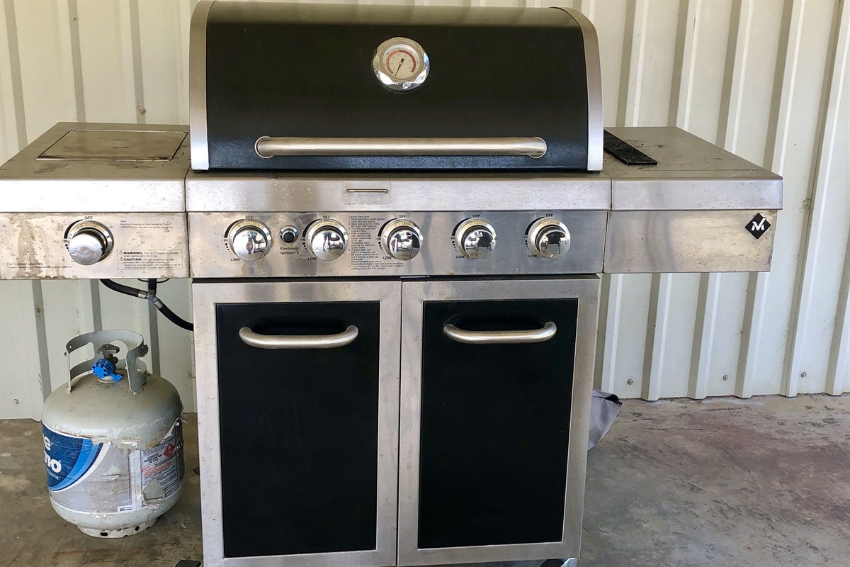 Gas grill on Cottage patio