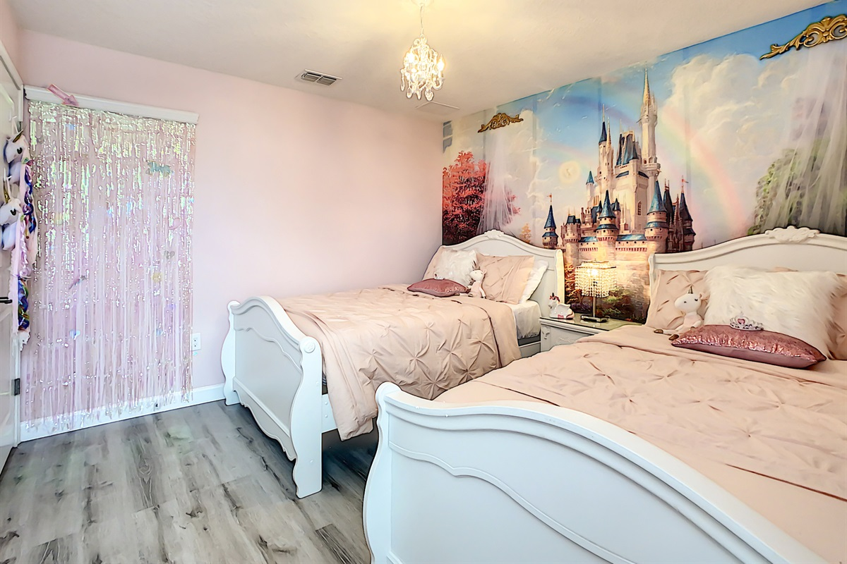 Bedroom 7-2nd Floor-Princess Themed- 2 Double Beds-Take Selfies In Front Of The Shimmering Background