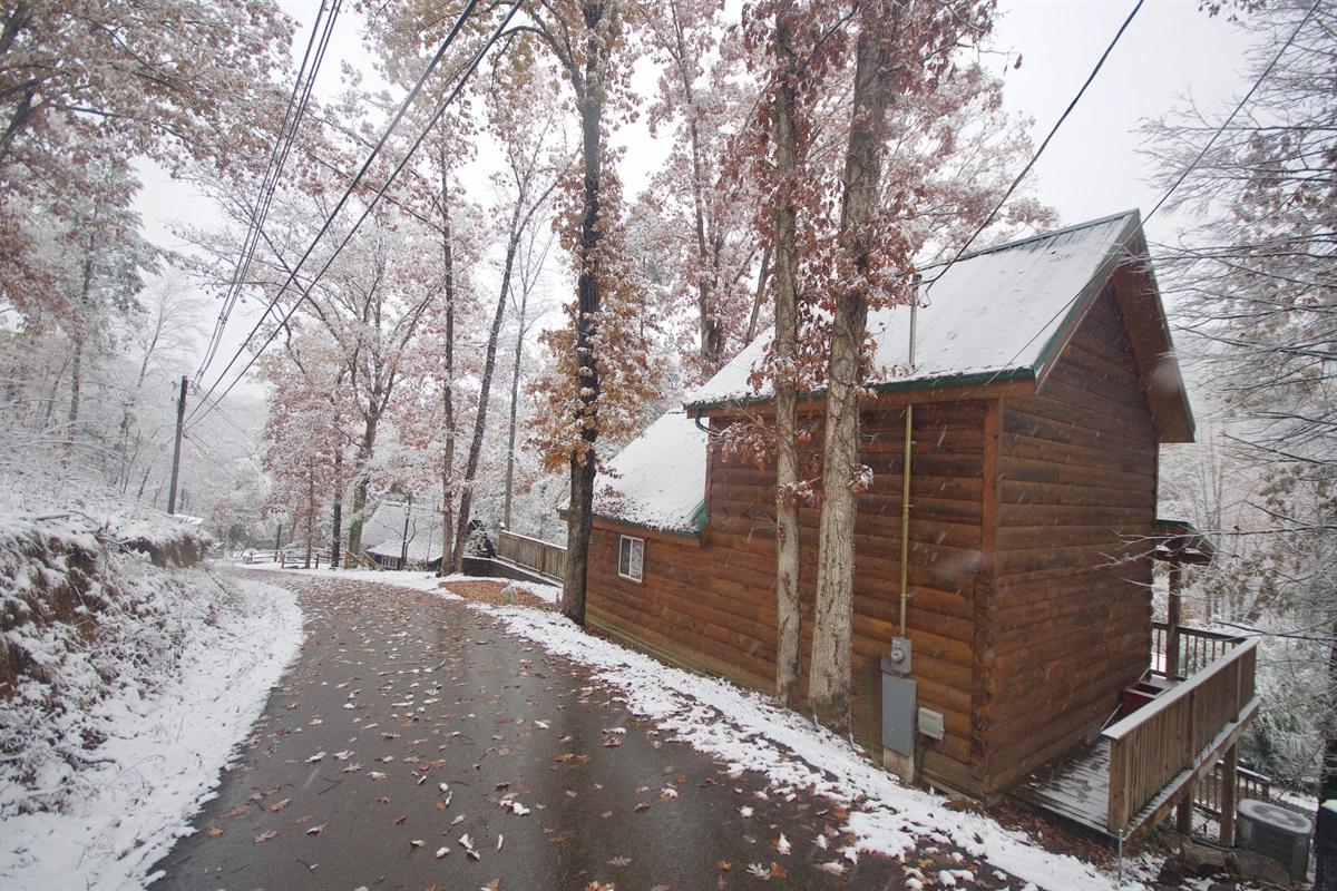 View of cabin rear from Oak Ridge Rd