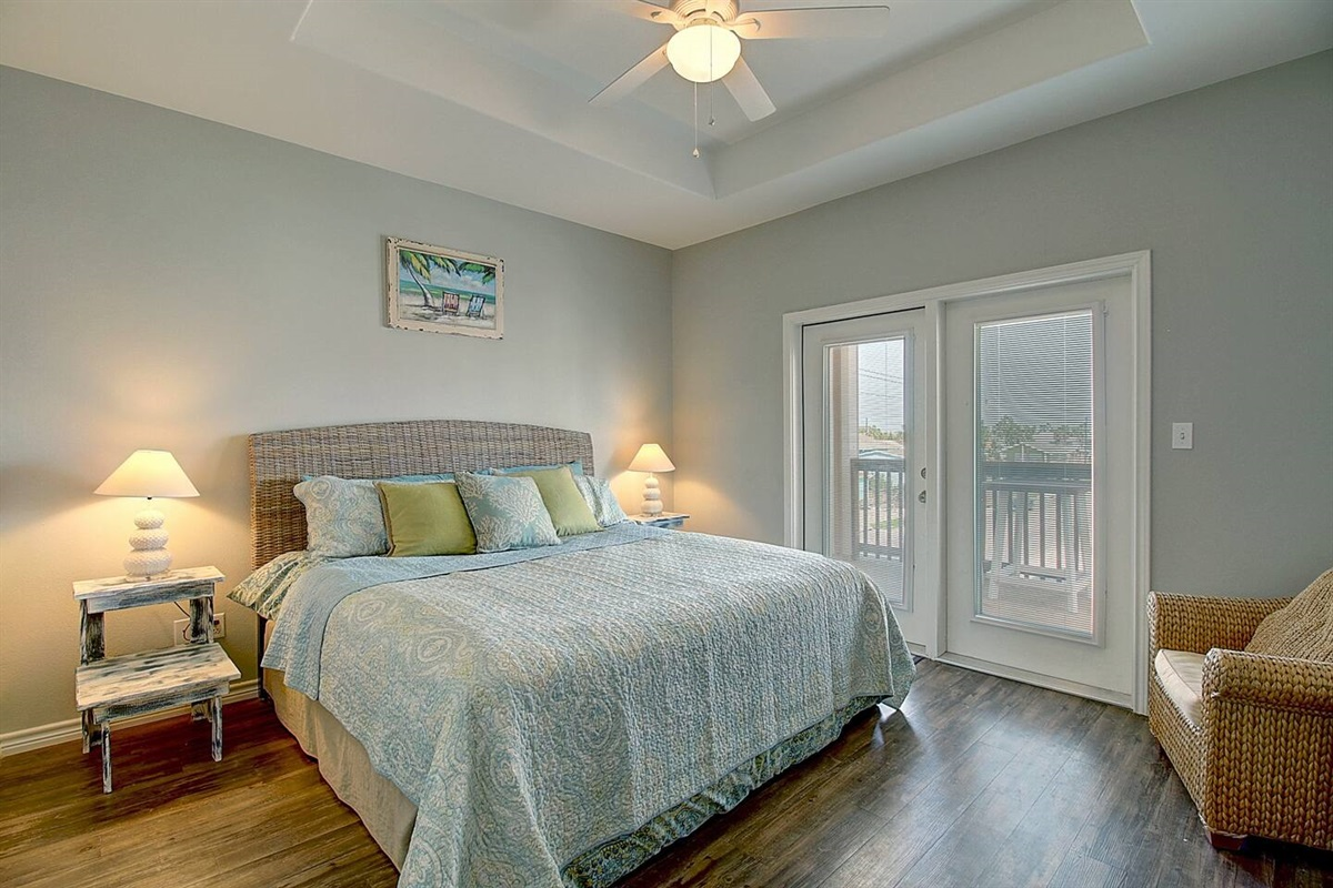 3rd Floor King Bedroom with Private Bathroom and Balcony.