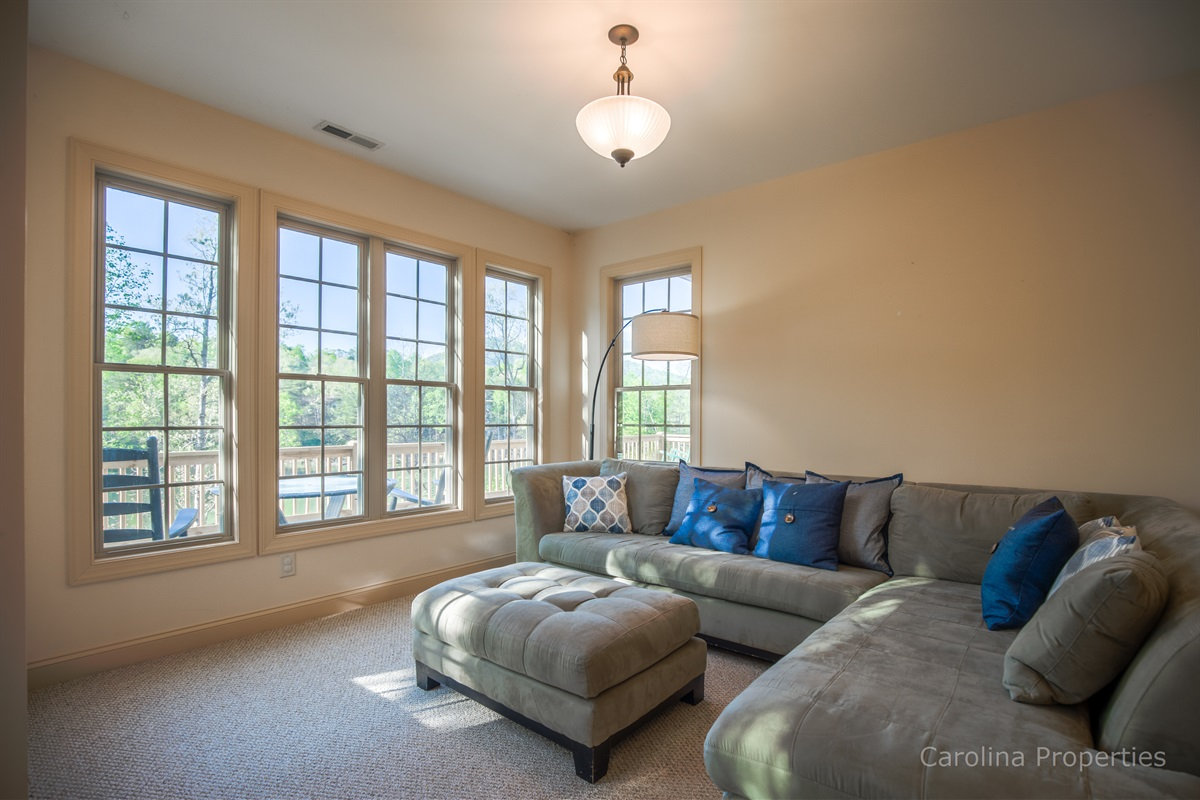 Lower level family room is super comfortable