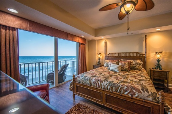 Tommy Bahama Master Bedroom Suite w/balcony and breathtaking views of Atlantic.