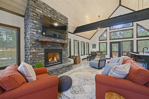 Main living area and stacked rock fireplace
