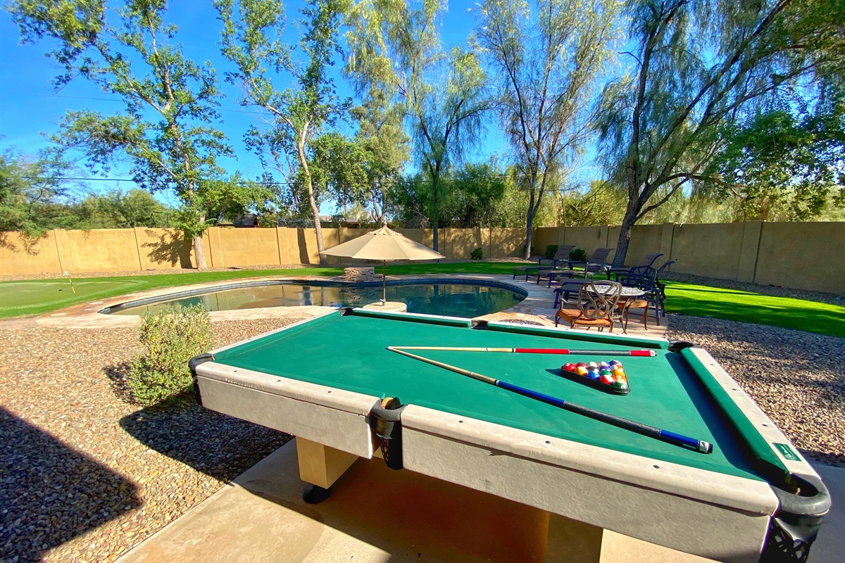 Outdoor entertainment with pool table