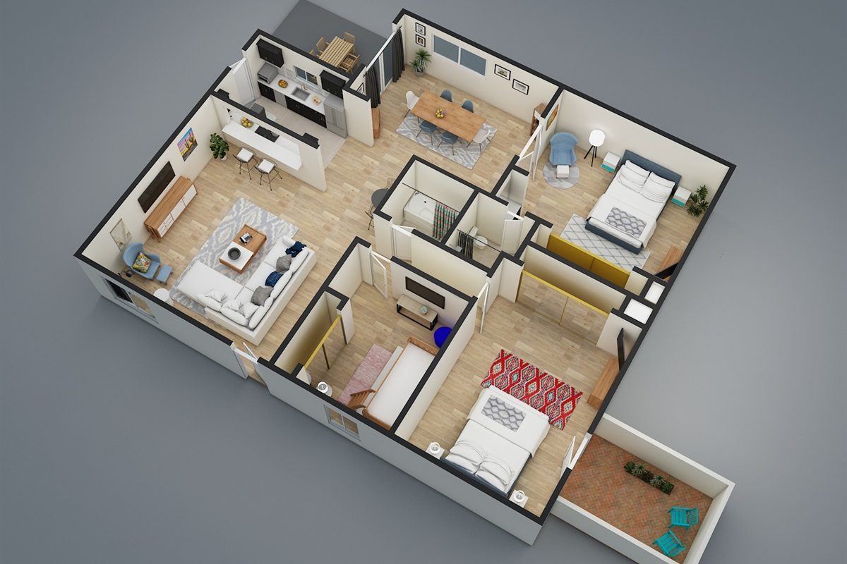 3D View of this gorgeous 3BR home