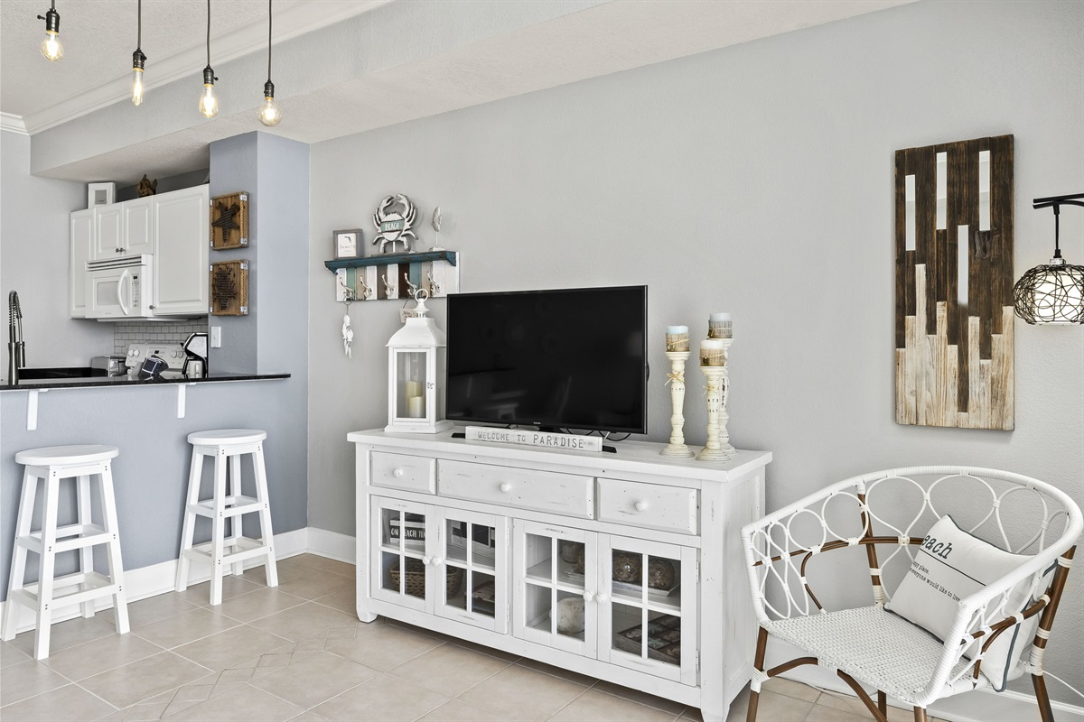 Entertainment area with smart tv