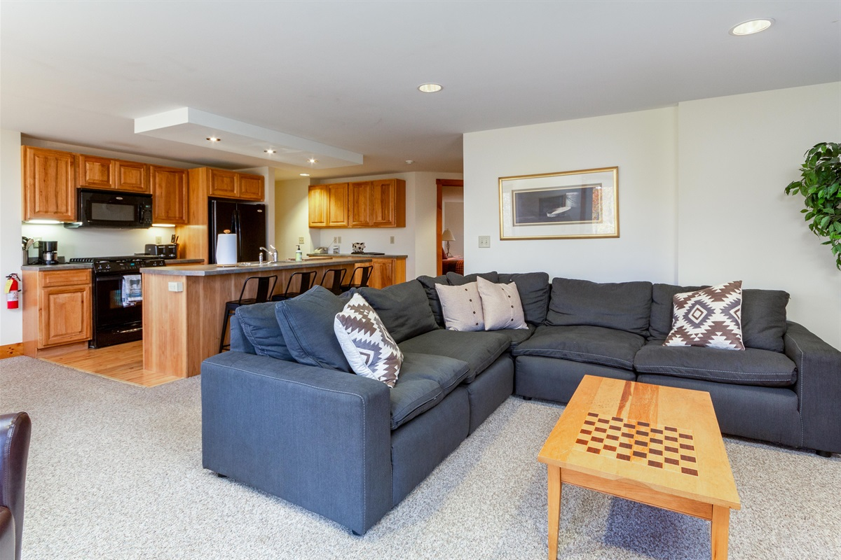 Comfy sofa for family get togethers.  Lots of games for all to play, including full poker set!