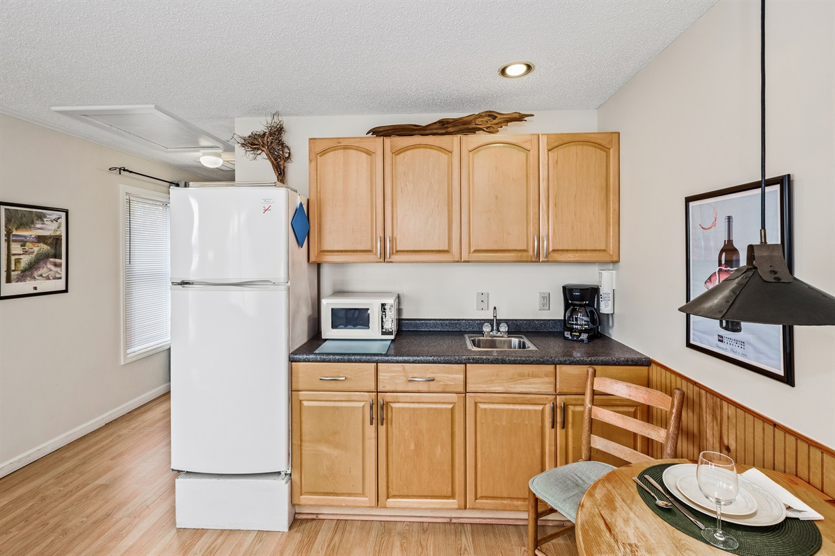 Kitchen has all essentials - microwave, toaster, fridge, coffee maker, single cooktop, even an electric kettle for tea.
