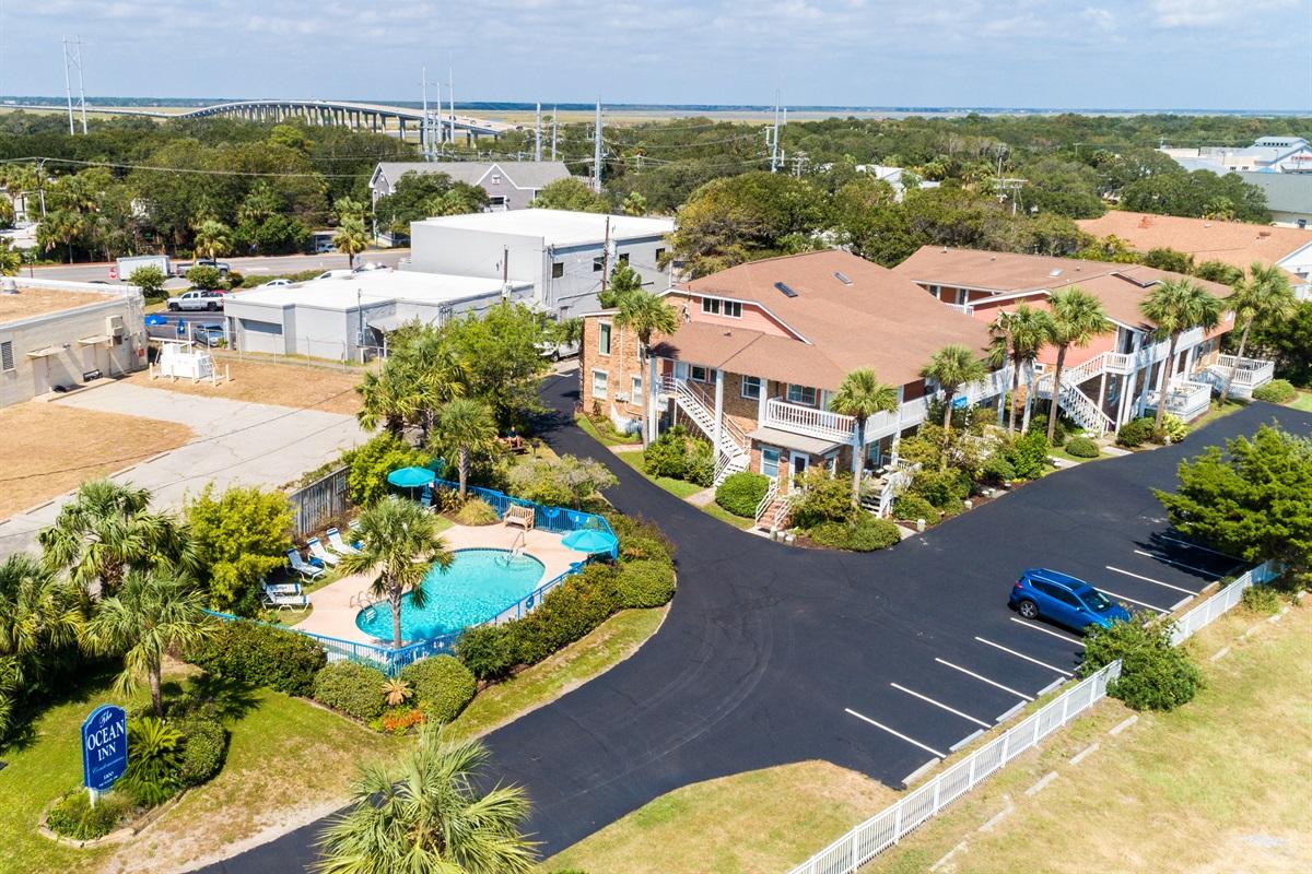 Aerial view of The Ocean Inn entrance
