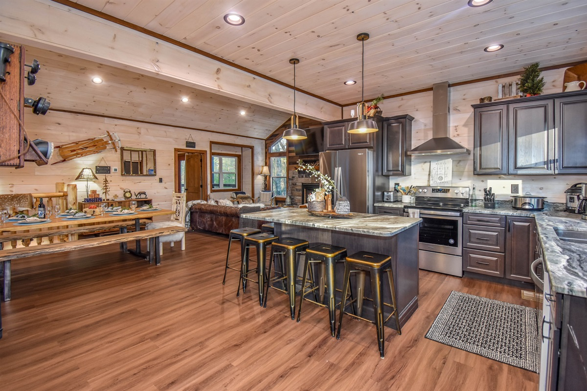 Chef's kitchen with modern SS appliances & everything you need to cook for a group.
