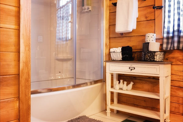 Brand new shower and tub in first floor bath