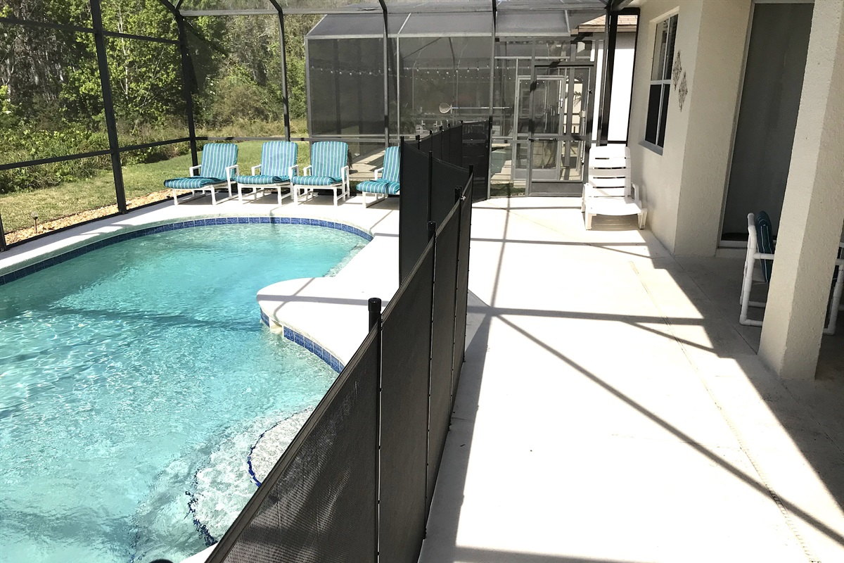 Private pool with child safety fence