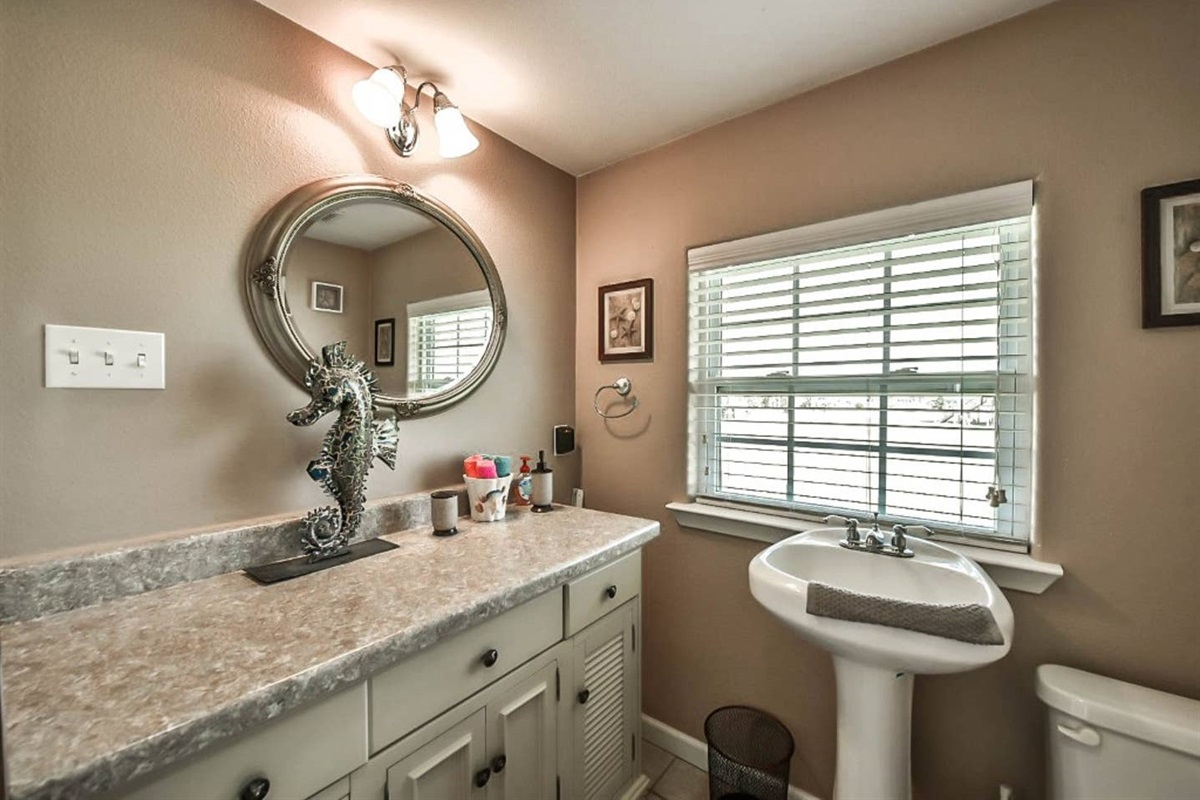 Jack & Jill Bathroom with Large Vanity Counter