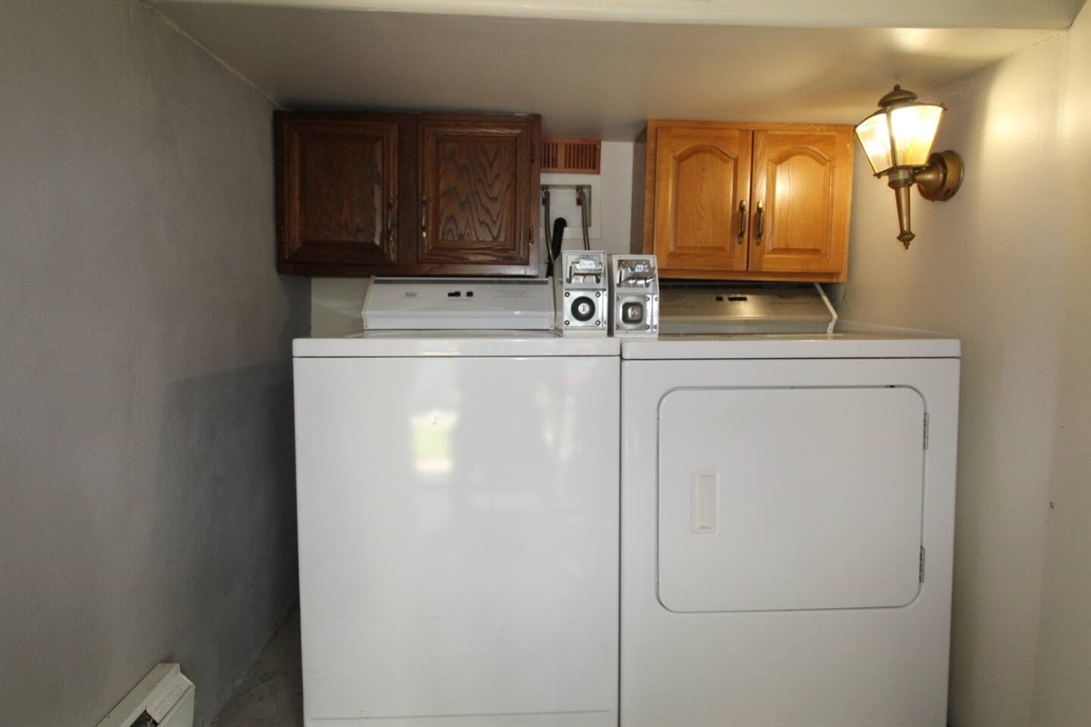 On site, FREE shared laundry room for the 3 apartments.  (Yes, they are coin op, but we provide the quarters!)