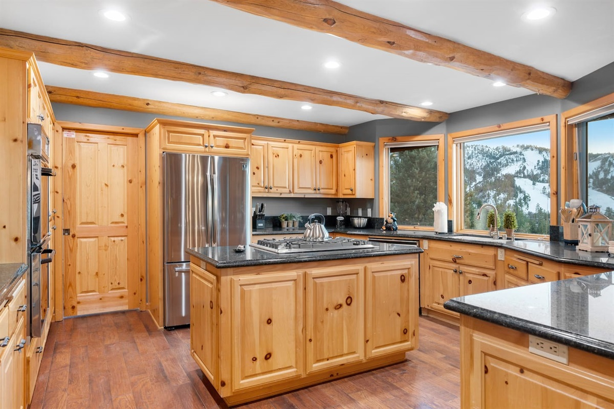 Kitchen with fantastic views of Bear Mountain!