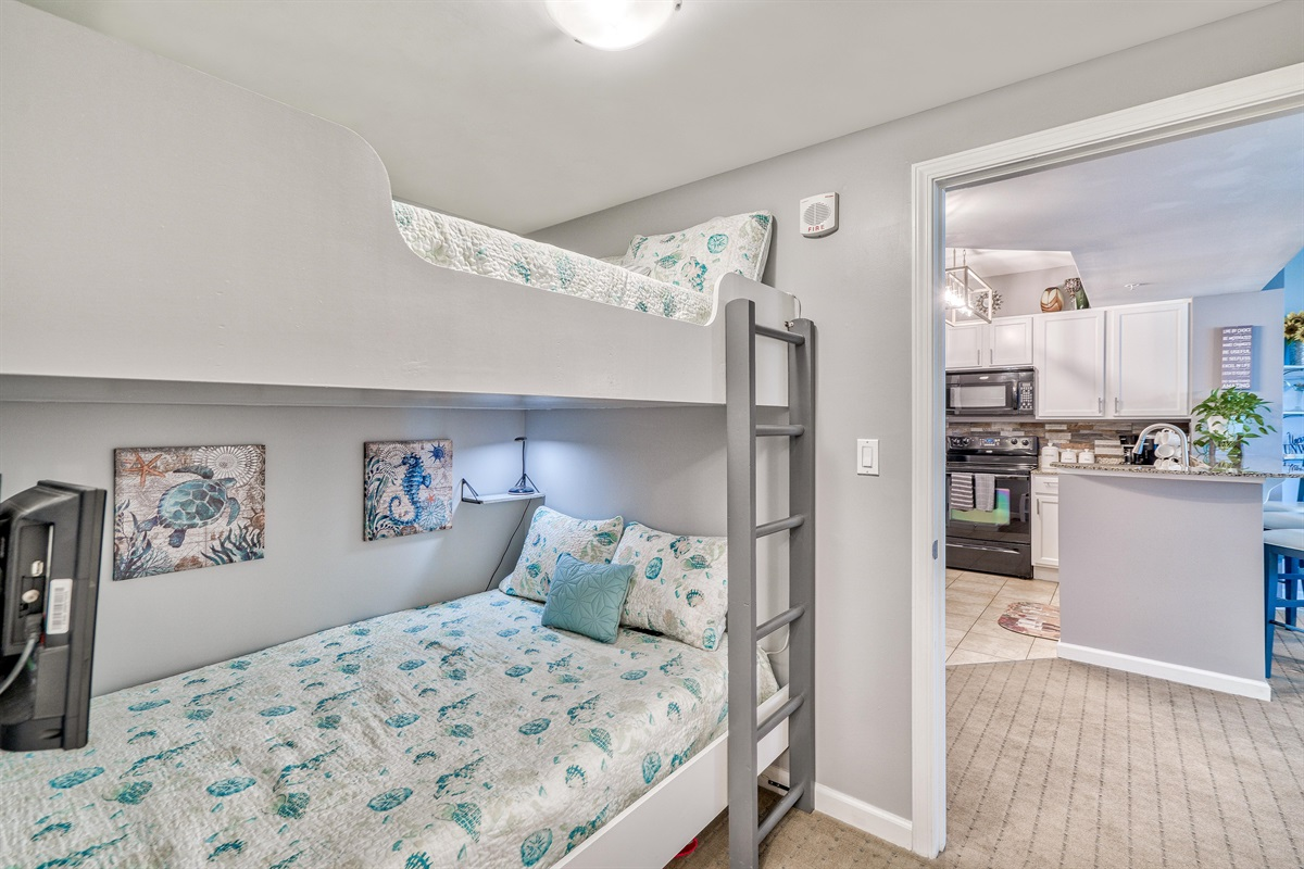 Bunk bed w/separate TV's for each bed