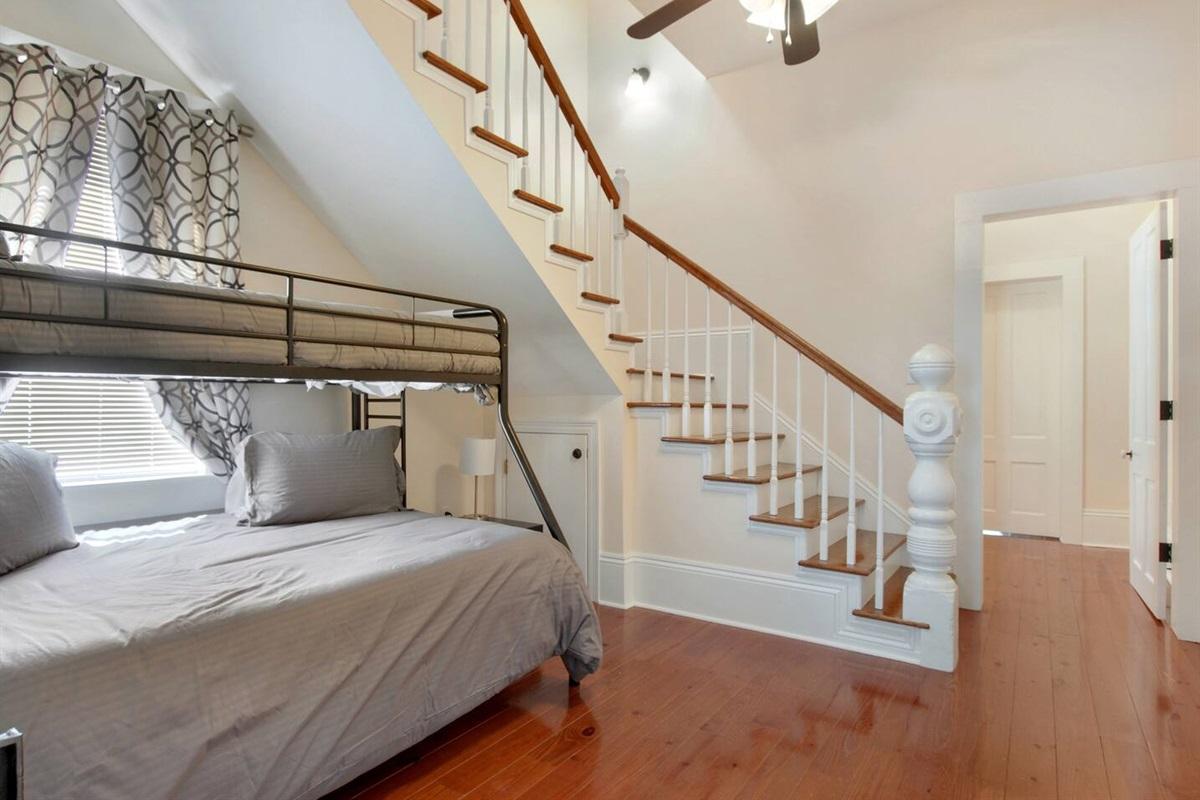 Bedroom 3. Twin over full bunk. Luggage rack.