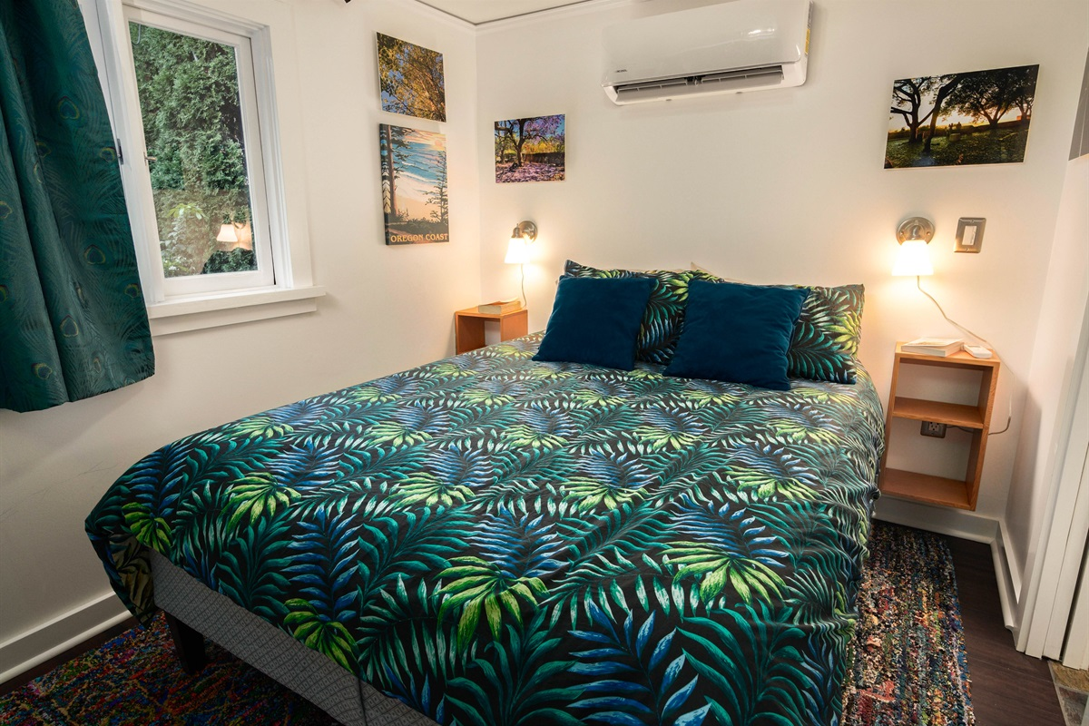 Read a book or take a nap in this quiet, cosy bed of the Patio Cottage