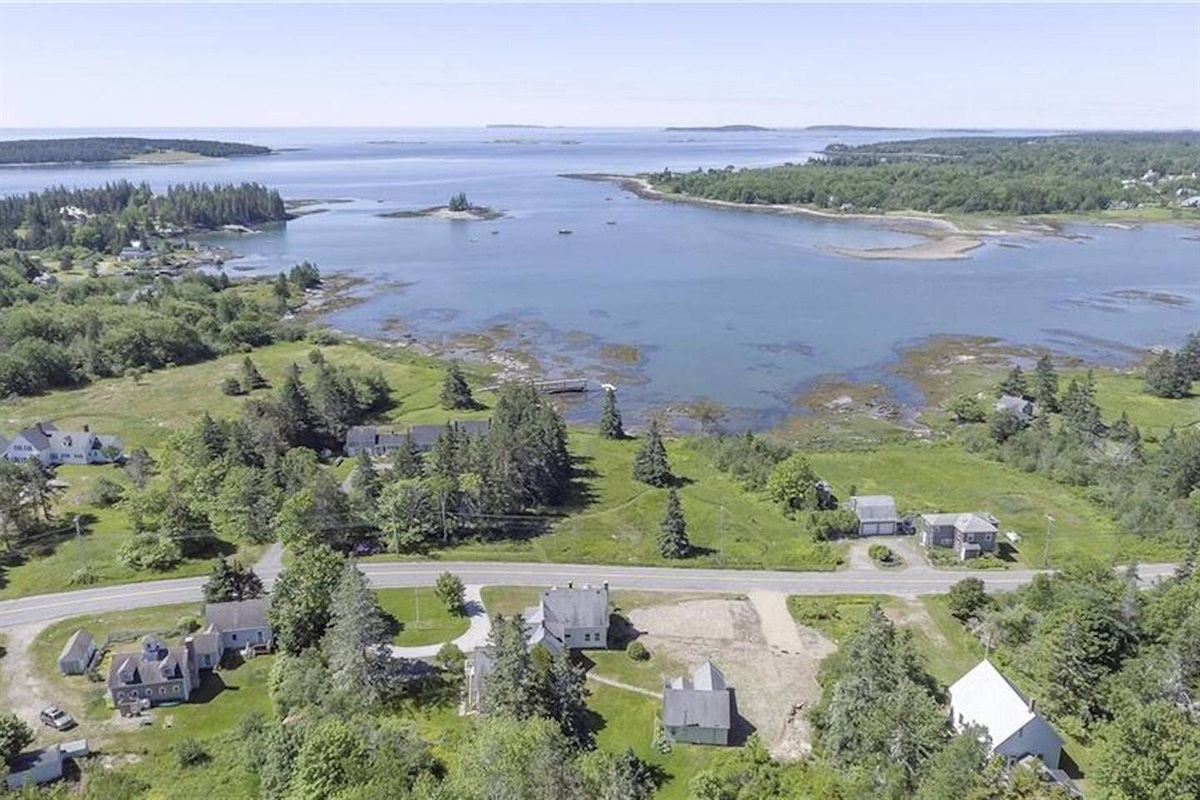 Aerial photo of the property, Bella's Bungalow in lower right corner.