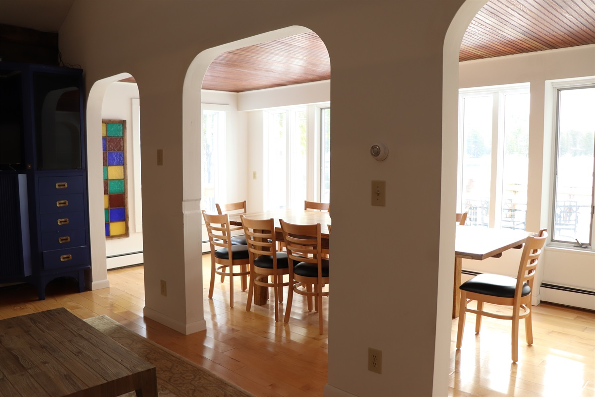View from the living room to dining room.