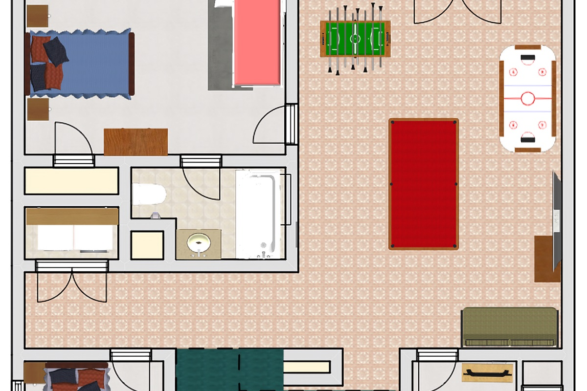Game room, hot tub, and 3 bedrooms