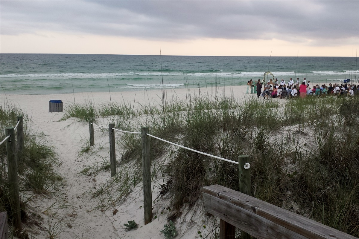 Wedding on the beach in front of our houses.