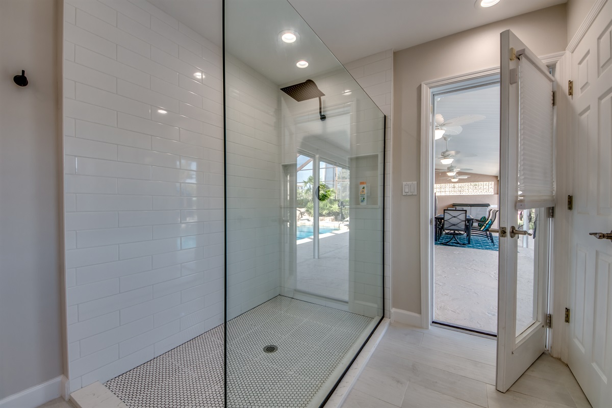 Entry to the pool area from master bath
