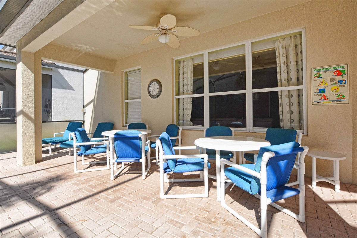 Lots of seating for everyone under the shaded lanai.