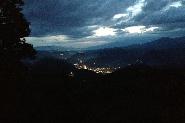 View of the city of Gatlinburg from the main level deck